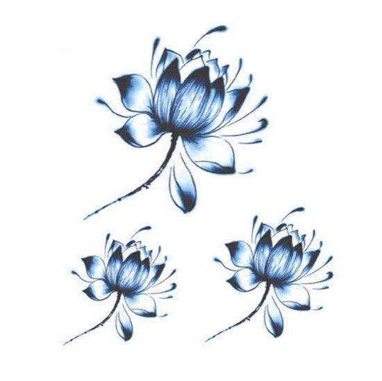 Tatouage fleur de lotus bleu                                                                                                                                                     Plus