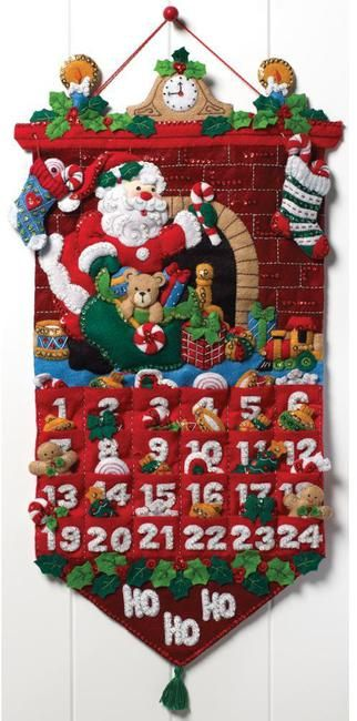 bucilla must be santa advent calendar felt applique kit the whole family will love