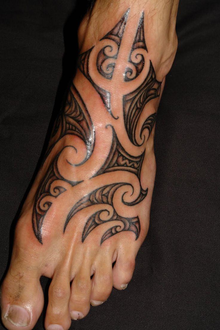 Beautiful Maori inspired foot tattoo
