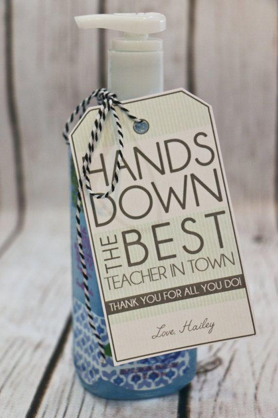 Cute tags for a practical valentine. Teacher Thank You gift  Personalized  HANDS by LaurelStDesigns