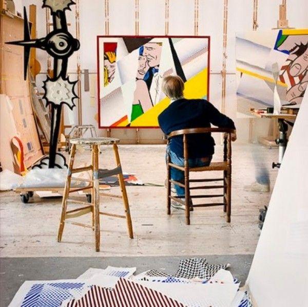 芸術家のアトリエ。アメリカの画家、ロイ・リキテンスタインのアトリエ