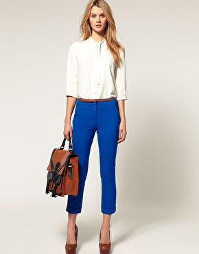 Slim crops from ASOS, in 6 different colors!Outfit With Blue Pants, Crop Blue Pants, Slim Crop, Outfit With Royal Blue Pants, Crop Pants Work, Royal Blue Pants Outfit, Work Outfit, Pants Kill, Royal Blue Crop Pants