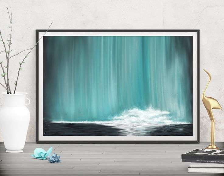 Capture your sense of freedom with this teal large abstract painting! Shop printables at FraBor Art. #walldecor #homedecor #interiordesign #painting # modernart #abstract #digital #digitalart #downloadable #printable #affordable #etsy #art #landscap