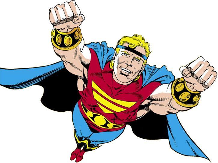 Quasar (Marvel Comics) (Vaughn) (Classic) flying heroically. From http://www.writeups.org/quasar-marvel-comics-profile/