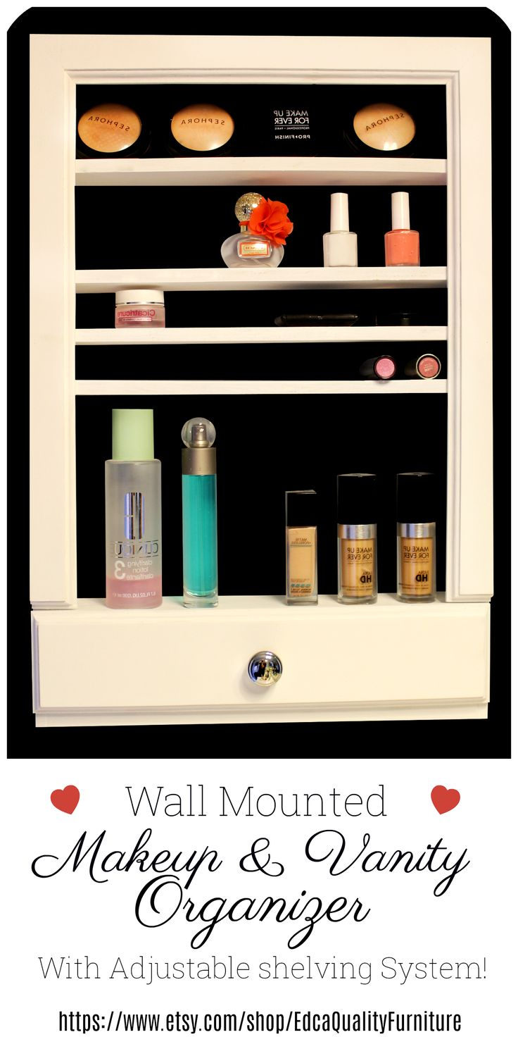 This one of a kind vanity and makeup organizer has adjustable shelves! You will be able to store anything from makeup, medicine, lotions, perfumes, makeup brushes to anything else you want regardless of the size because it will fit with no problem!