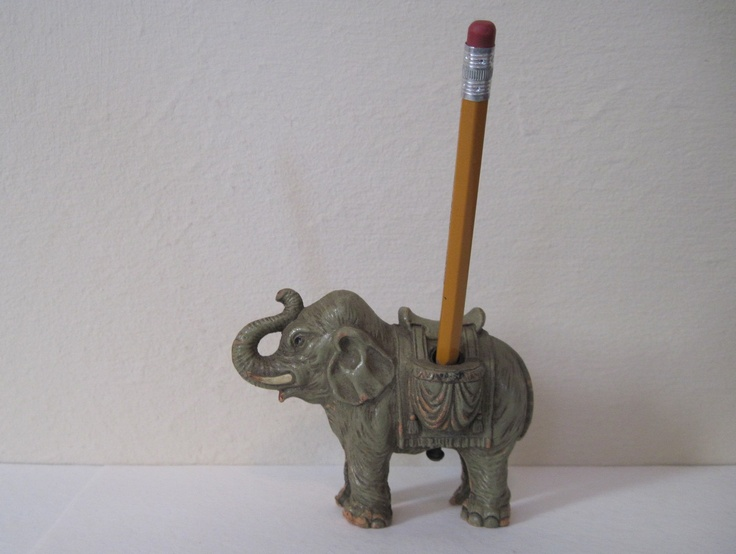 1960s Elephant Pen Holder - Eclectic Desk Accessory for your office, study, or Library - Bohemian Chic.