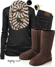 A navy blue or dark grey long sleeve with dark skinny jeans, uggs, and a striped scarf