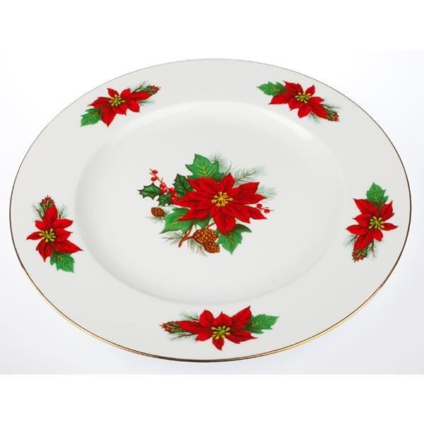 Εορταστική πρόταση για σας που τα Χριστούγεννα έχουν χρώμα κόκκινο-πράσινο-χρυσό. Στρογγυλή πιατέλα για το σερβιρίσμα, από λευκή φίνα πορσελάνη με σχέδιο Αλεξανδρινό