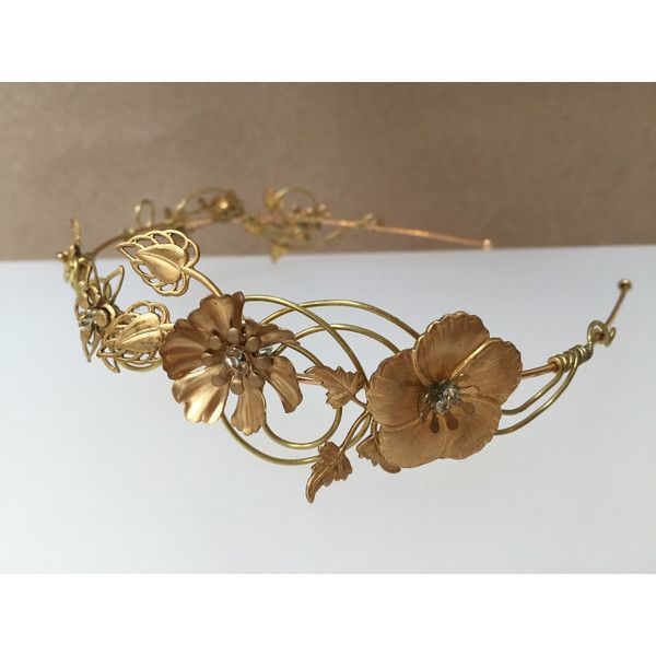 The ODETTE Crown Edwardian Vintage Flower Tiara Headband. Steampunk,... ($90) ❤ liked on Polyvore featuring accessories, hair accessories, gold crown headband, bridal flower crown, gold crown tiara, flower headbands and boho flower crown