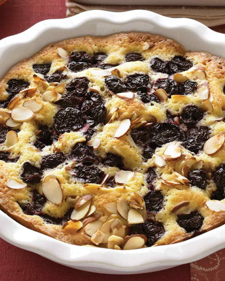 Warm Almond-Cherry Cake | Martha Stewart Living - Frozen cherries become juicy and intense when baked into this tender cake. Your freezer aisle is the best place to savor summer fruit any time of year.