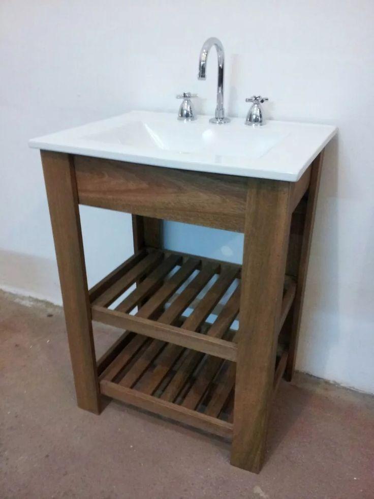 Vanitory madera tipo campo bacha 50cm madera ba os y ba o - Muebles de bano originales ...