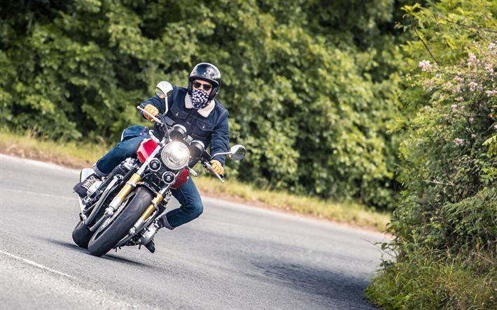 Download wallpapers Honda CB1100 RS, 4k, 2018 bikes, rider, new CB1100, japanese motorcycles, Honda