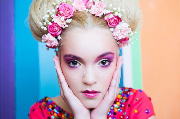 candy, colors, make-up, blonde, flowers, pink, fashion, arina varga
