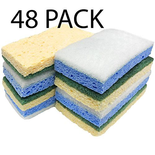 Sponges 48 Pack Sink Kitchen Cleaning Cheap Budget Sponge Multi Purpose Dual Side Bathroom Eco Friendly Biodegradable  Great for Kitchen, Clean up, Projects, Maintenance, Clean up.  Multi Colored Sponges.  Ships in 1-2 business days via UPS ground.  One Side Scourer and one side porous sponge.