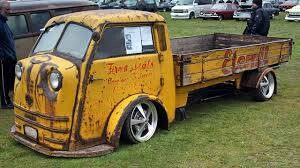 This is a very rare VW powered truck called a Tempo Matador, built in 1951 by a Hamburg, Germany based company by the name of Vidal and Son. This one apparently has been saved, and then customized with lowered suspension & aftermarket wheels, and for kicks they kept the petina for good measure.