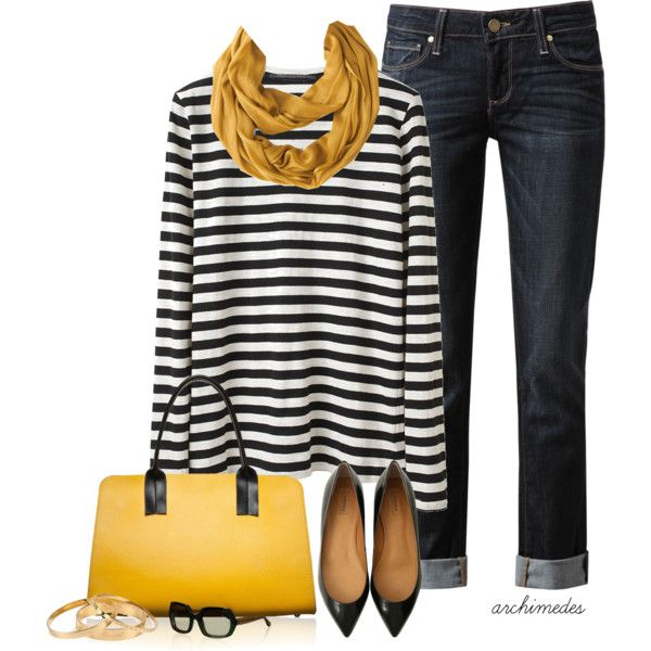 Mustard scarf/bag along with patent flats dresses up a basic striped top and pair of jeans.