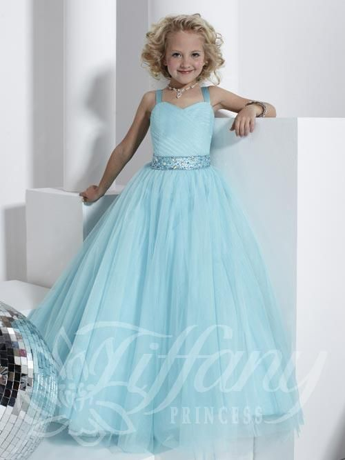 Girls Pageant Dress Tiffany Style 13315 Sky Blue Sizes 4, 6  8, or 10