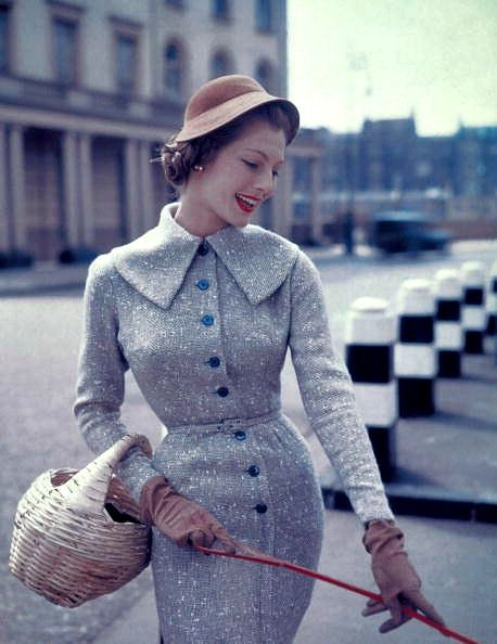 Fiona Campbell-Walter in slim wool belted dress, c.1955