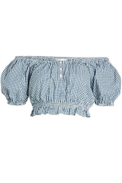 Karierte Off-Shoulder-Bluse aus Baumwolle   Caroline Constas