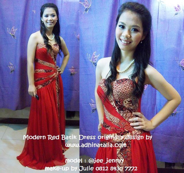 This is my special evening dress or gala design. I made a combination from sateen and chiffon with my country ethnic fabric which is called Batik. The draperies go along the body-wrap :)