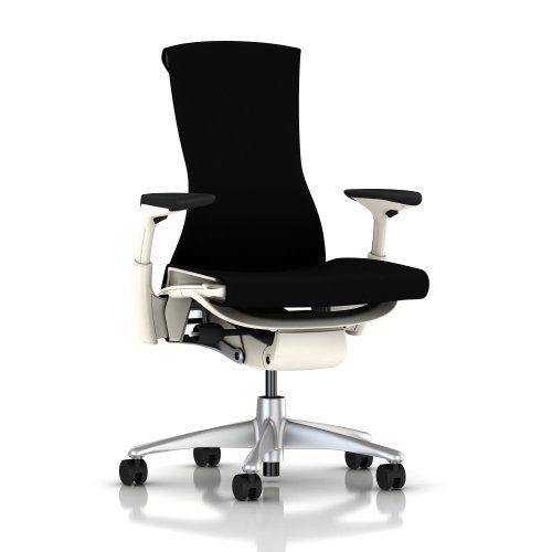 "Embody Chair by Herman Miller - Fully Adjustable Arms - White Frame and Titanium Base - Standard Carpet Casters - Black Rhythm by Herman Miller. $1239.00. Mimics the spine. The back is ""alive,"" adapting to the shape and movement of your spine; it automatically adjusts to your shifting positions and supports you through the full range of working postures.. New tilt technology. Embody's rotation points are within the seat and back, and the base of the back remains fixe..."