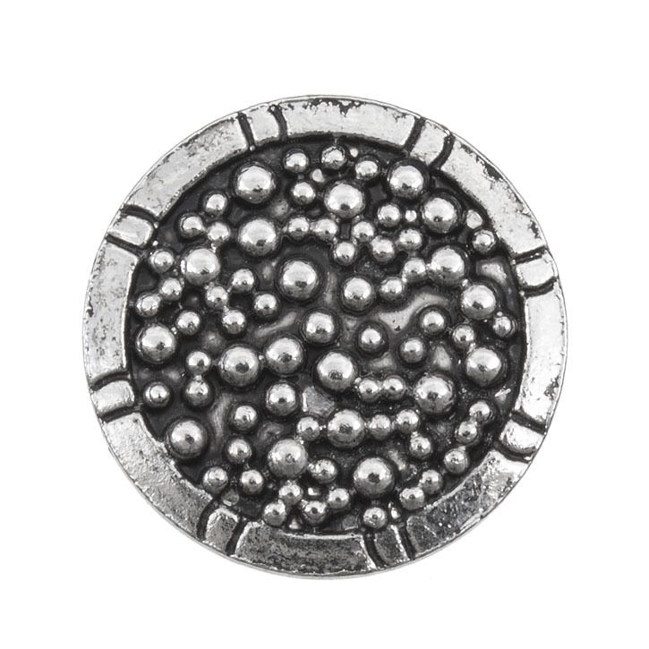 Snap! Metal Interchangeable Fastener Round With Dots 18MM Antique Nickel 1pc Off Price Policy - 4005-0101-001 - Club Bead Plus