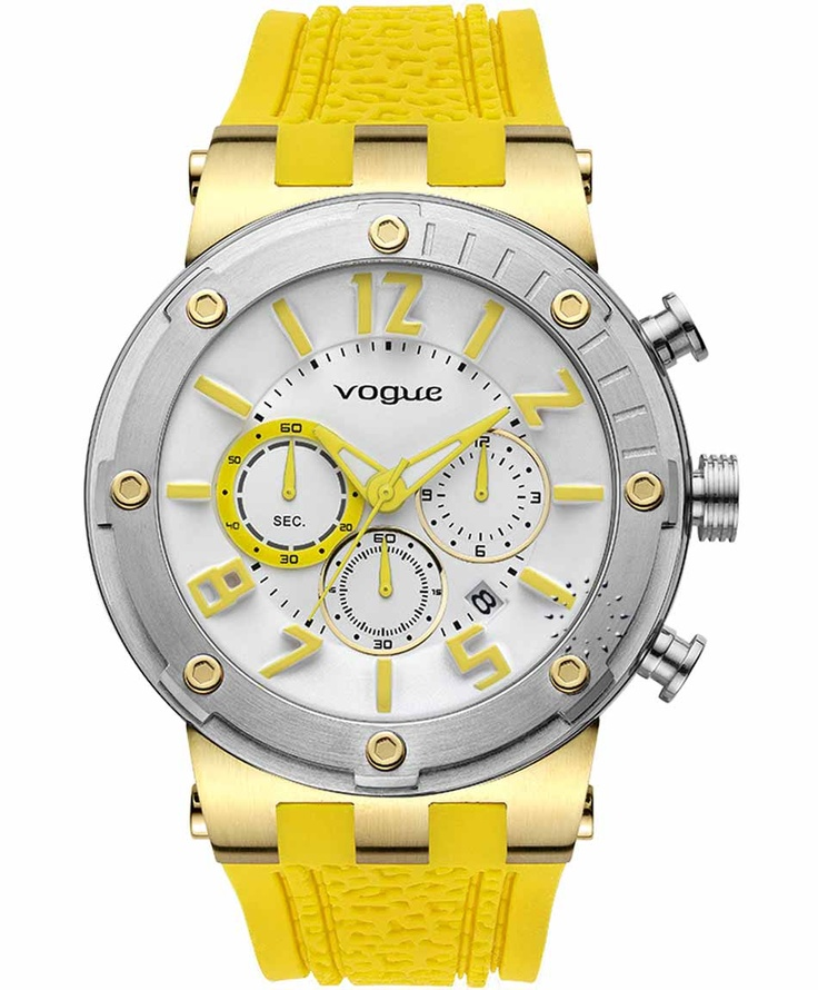 VOGUE Feeling Gold Chrono Yellow Rubber Strap  Μοντέλο: 202017001.7  Τιμή: 215€  http://www.oroloi.gr/product_info.php?products_id=31618
