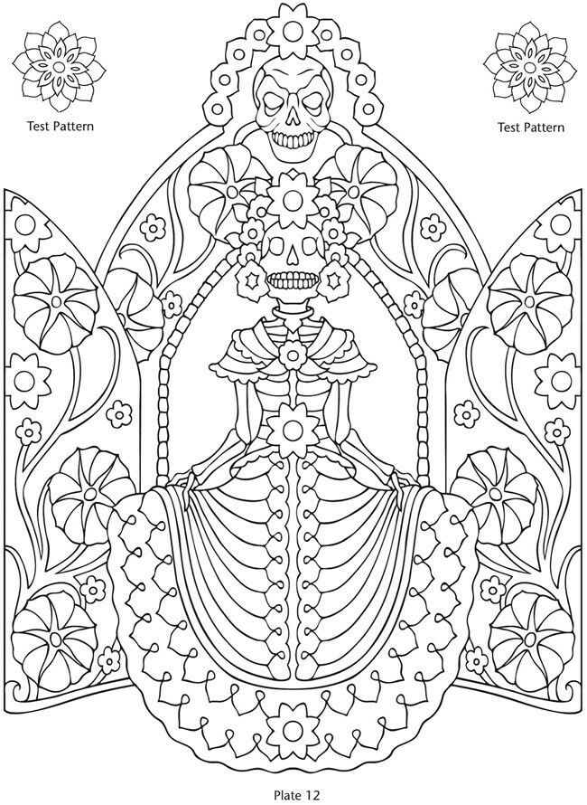17 best sugar skulls day of the dead images on pinterest coloring Blank Cartoon Skull day of the dead printables coloring pages patterns dover publications