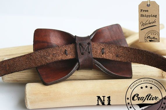 This elegant, boys monogrammed leather bowtie is an ideal for any formal occasion. Maybe a wedding? or the first communion? Personalizable with the name this item is also a... #craftive #wedding