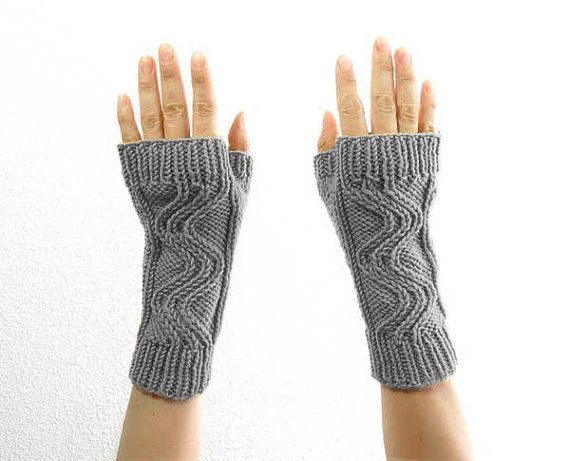 Swirl Fingerless Mitts. Hand Knit. Soft Merino by tortillagirl (Accessories, Mittens, Fingerless, handmade in france, hand knit, wrist warmers, fingerless mitts, spring fashion, hand warmers, autumn winter, swirl knit cables, fingerless mittens, black friday etsy, soft gray grey)