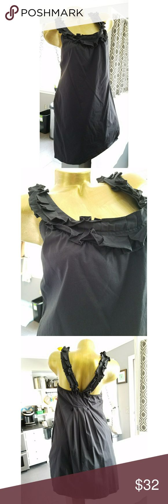 Anthropologie fei black ruffle dress Lightly worn  Side zipper Linned Cotton, nylon and spandex 18 inches from armpit to armpit Elastic accross back  34.5 inches long Anthropologie Dresses