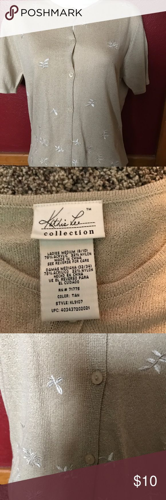 Kathy Lee Ladies beige cardigan sweater Lightly used preowned condition.. beautiful sweater Sweaters Cardigans