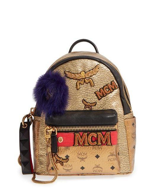 MCM |  'Разительный Insignia' Металлическая кожа рюкзак с неподдельной Fox меховой отделкой - Metallic |  лизатора