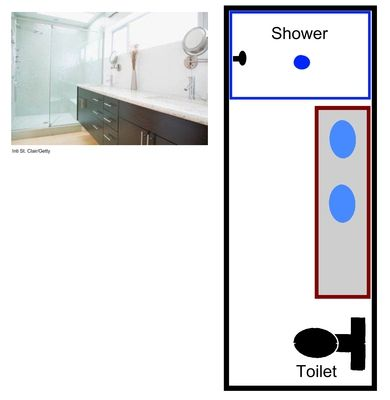 Similar to original bathroom location with wider shower, elongated vanity, double-sink, and rotated toilet