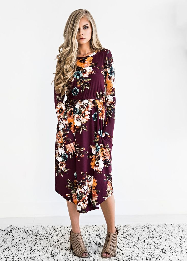 Burgundy Classic Rose Midi Dress Burgundy Classic Rose Midi Dress Jessakae Fashion Style