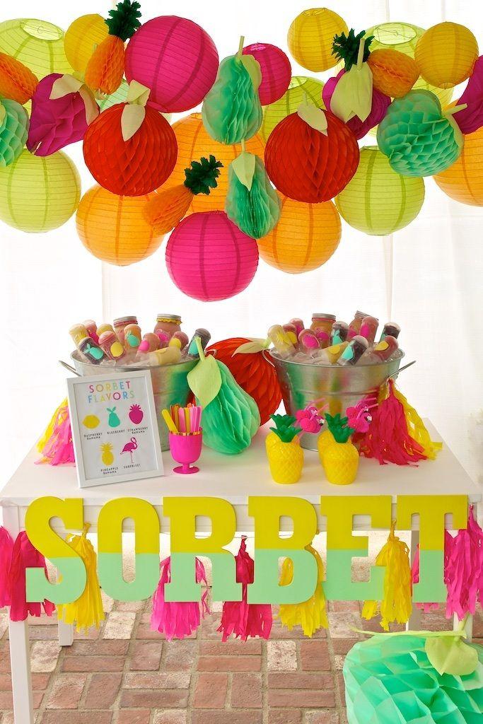 Fruity Flamingo Party Sorbet Station | The TomKat Studio