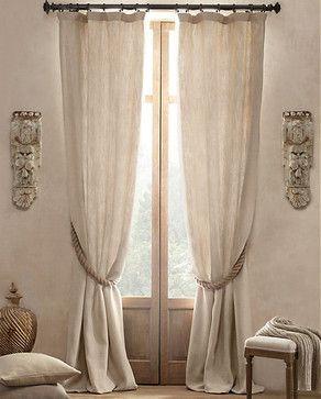 Textured Belgian Linen Drapery - traditional - curtains - Restoration Hardware