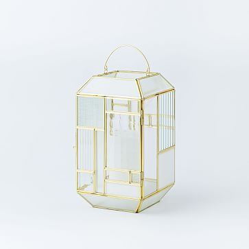 Paneled Glass Lanterns - White/Gold/Yellow #westelm