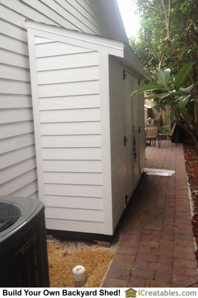 Completed lean to shed in Florida! Great way to use the narrow space between your house and the property line!