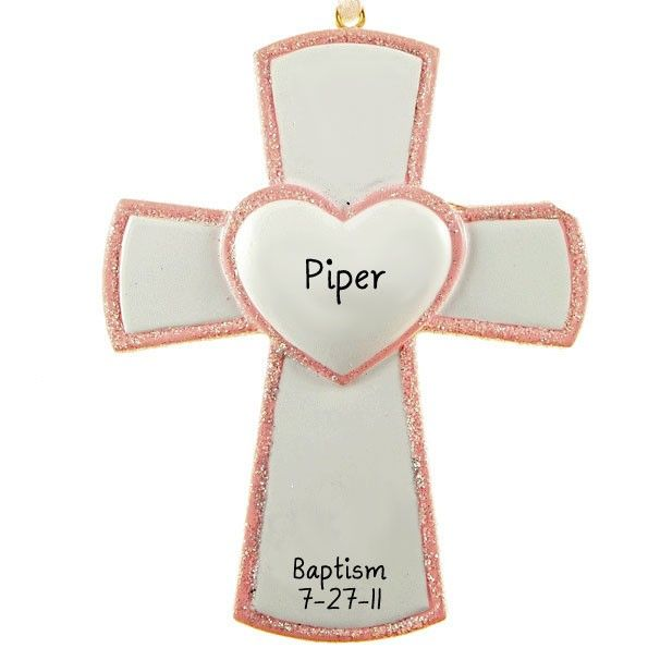 Pink Baby Girl Blessed Cross Christmas Ornament