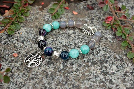 Tree of life charm bracelet Gray aqua blue beaded bracelet