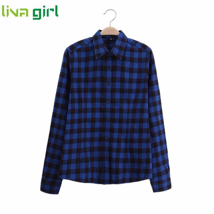 >> Click to Buy << Women Plaid Shirt Long Sleeve Cotton Blouse Tee Shirt Femme Tops Blazer Tartan Clothes blusas Camisa Mujer Plus Size 5XL Jan4 #Affiliate