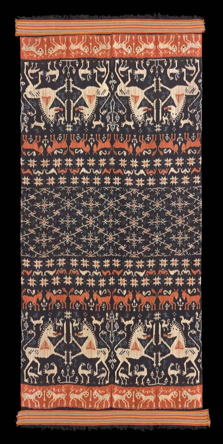 1960s Hinggi, men's ceremonial shoulder wrap | From a unique collection of antique and modern textiles at https://www.1stdibs.com/furniture/asian-art-furniture/textiles/