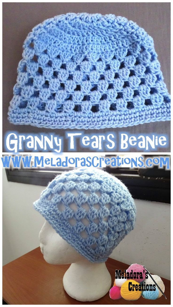 Granny Tears Beanie - Free crochet pattern & video tutorials by Meladora's Creations