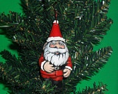 Ceramic Santa Gnome Ornament -4 inches, hand painted