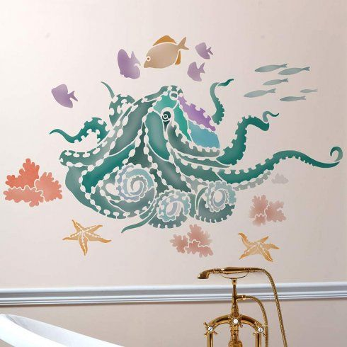 Octopusu0027s Garden Wall Art Stencil From Cutting Edge Stencils Painted On A  Nautical Themed Bathroom Accent