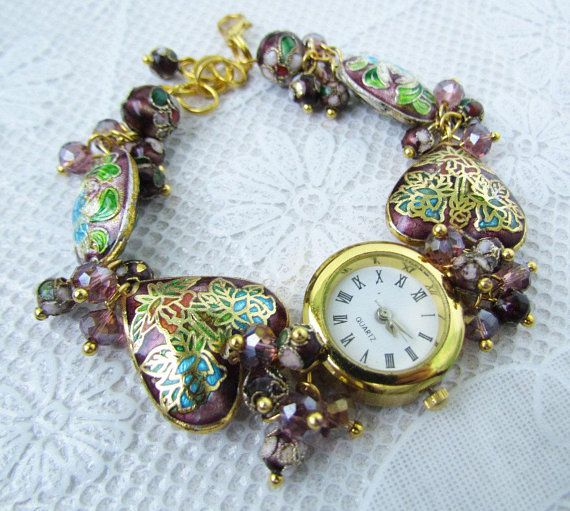 White with golden <b>woman</b> wrist <b>watch</b> with ivory glass lampwork ...