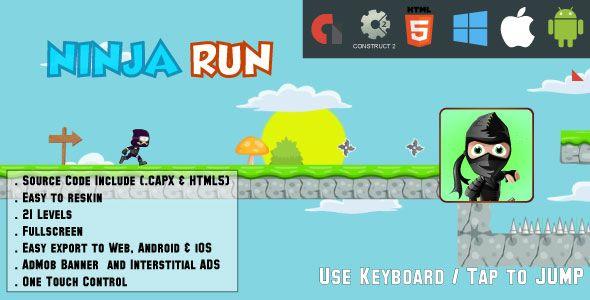 Ninja Run Adventure - 21 levels - HTML5 Game Fullscreen display - Web & Mobile + AdMob (CAPX)