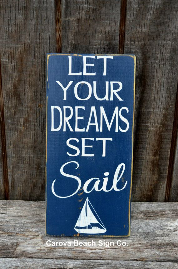 Beach Art Beach Decor Sailing Nautical Nursery Sign Dreams Set Sail Boys Room Graduation Gift Inspirational Rustic Beach Sign Sailboat Boat on Etsy, $26.00