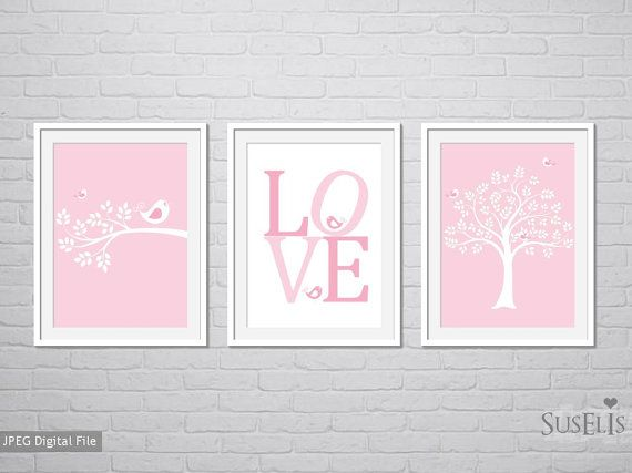 Birds Love Nursery decor Wall art Pink Flower art 8x10 by Suselis